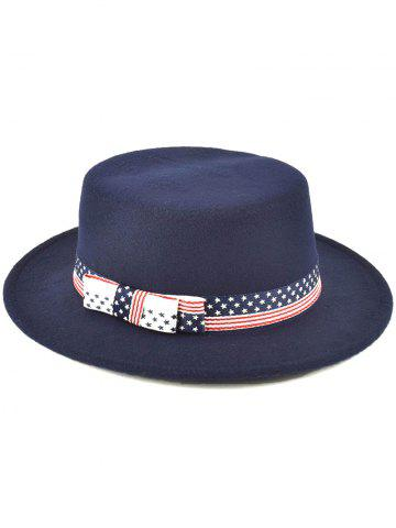Shops Star Striped Bowknot Flat Top Fedora Hat - PURPLISH BLUE  Mobile