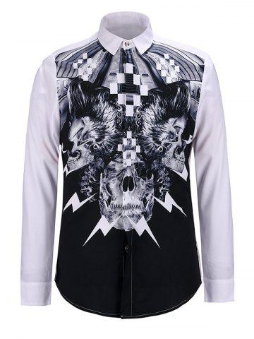 Sale 3D Abstract Skulls Print Turn-Down Collar Long Sleeve Shirt