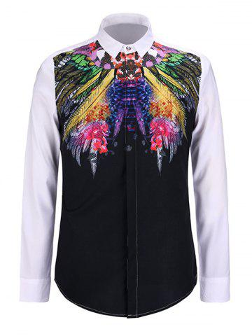 Sale 3D Colorful Feather Print Turn-Down Collar Long Sleeve Shirt