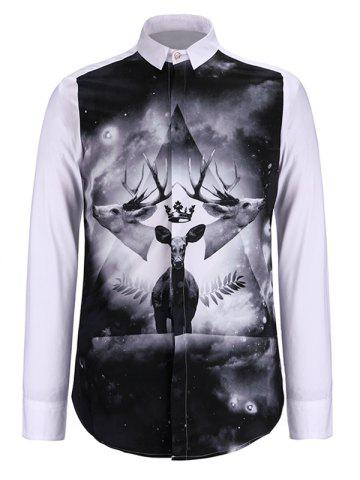 Unique 3D Symmetrical Elk Print Turn-Down Collar Long Sleeve Shirt