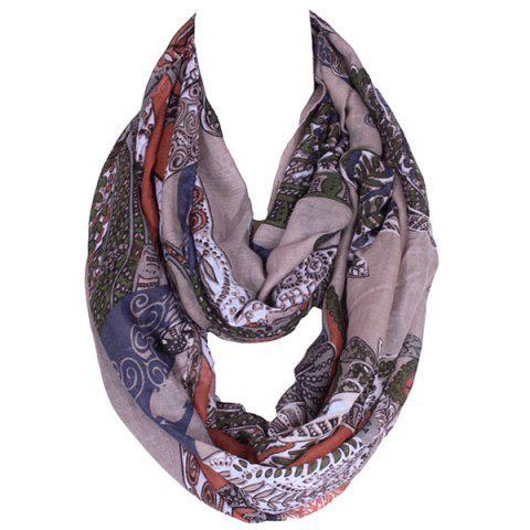 Sale Retro Paisley and Leaf Pattern Voile Scarf