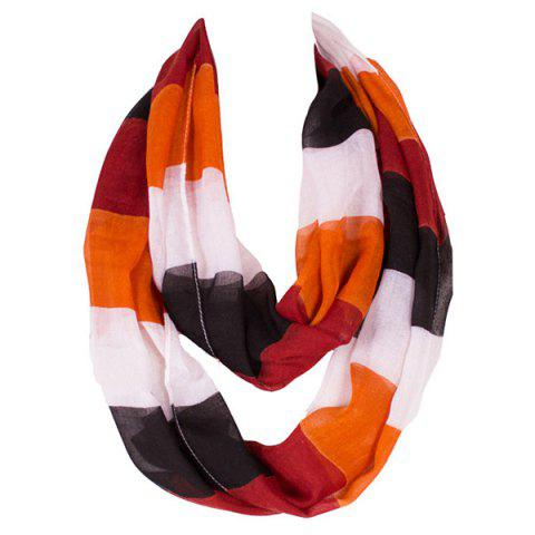 Shop Chic Color Block Stripe Pattern Loop Twist Infinity Voile Scarf