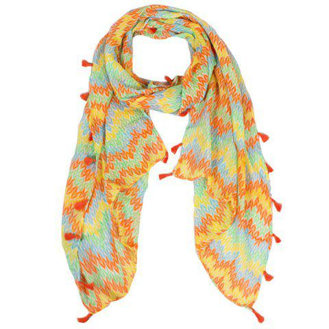 Buy Color Mix Fringe Tassel Knitted Print Voile Scarf