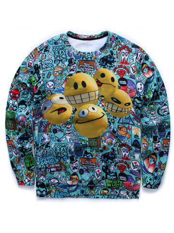 Cartoon 3D Smile Face Imprimer col rond manches longues Sweat manches