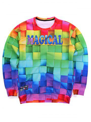 Online 3D Colorful Cube Print Round Neck Long Sleeve Sweatshirt