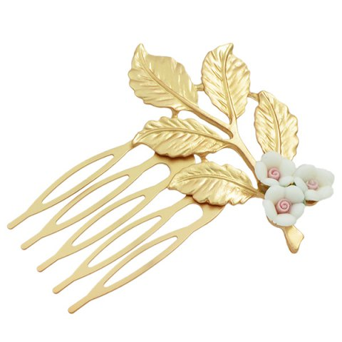 Store Alloy Flower Leaf Hair Accessory WHITE
