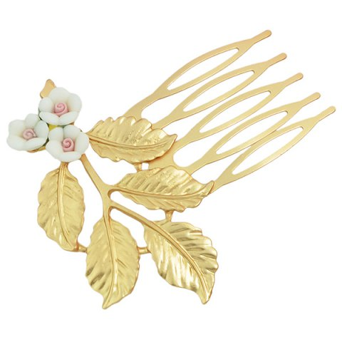 Shop Alloy Flower Leaf Hair Accessory - WHITE  Mobile
