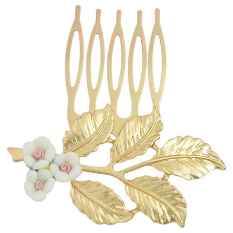 Hot Alloy Flower Leaf Hair Accessory - WHITE  Mobile