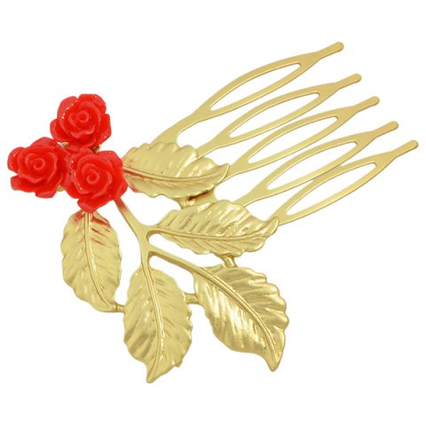 Hot Alloy Flower Leaf Hair Accessory - RED  Mobile