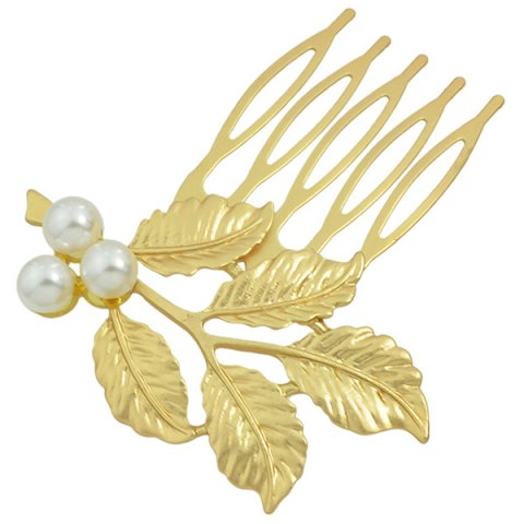 Cheap Alloy Faux Pearl Hair Accessory - GOLDEN  Mobile