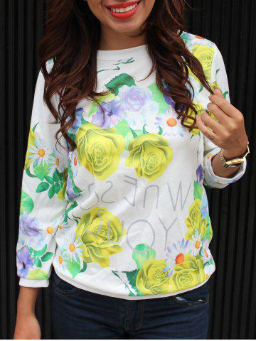 Trendy Floral Printed 3/4 Sleeve Sweatshirt
