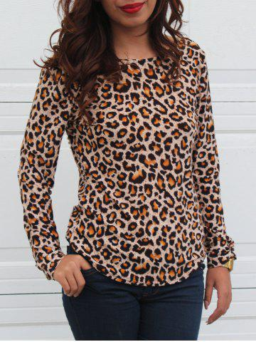 Sale Leopard Print Long Sleeve Round Neck Backless T-Shirt