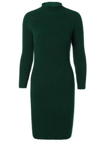 Unique Long Sleeves Ribbed Bodycon Knitted Dress