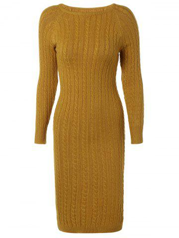 Shops Long Sleeve Cable Knit Bodycon Sweater Dress