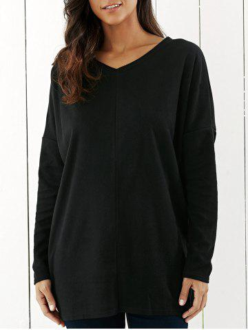 Outfit Drop Shoulder Tunic T-Shirt BLACK XL