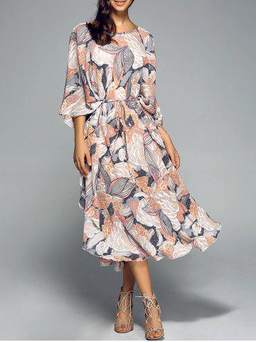 Outfit Side Slit Tied Belt Floral Print Midi Dress