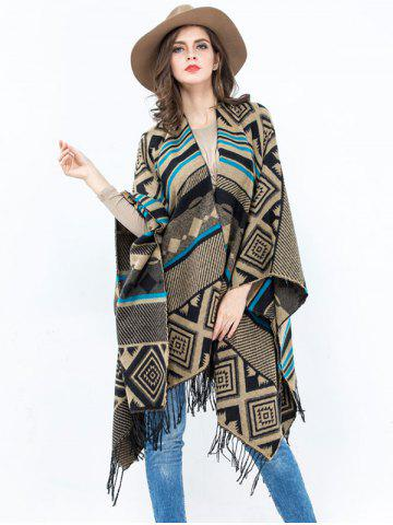 New Vintage Geometry Rhombus Open Front Tassel Pashmina Poncho