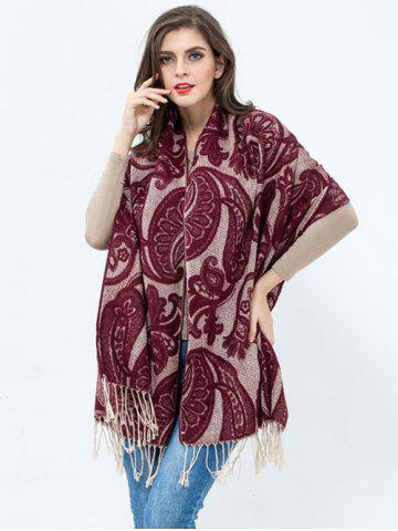 Discount Winter Vintage Flower Printed Tassel Wrap Shawl Pashmina
