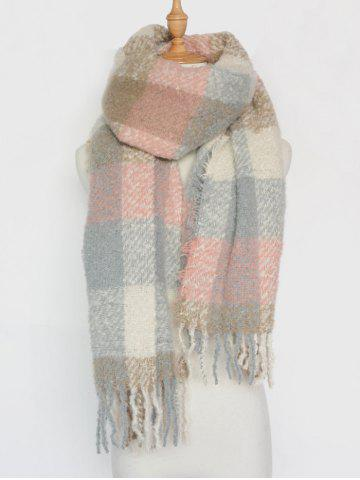 Winter Soft Color Bloc Plaid Tassel Châle Pashmina