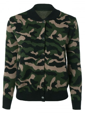 Buy Camouflage Button Up Baseball Knitwear