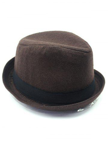 Store Vintage Embellished Flanging Wool Fedora Hat - COFFEE  Mobile