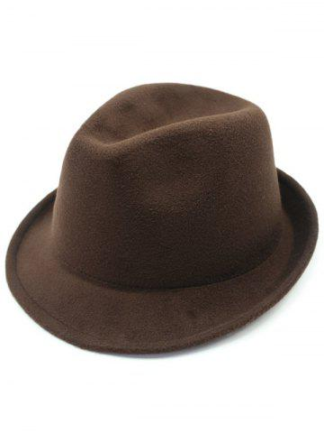 Unique Flanging Faux Wool Fedora Hat COFFEE