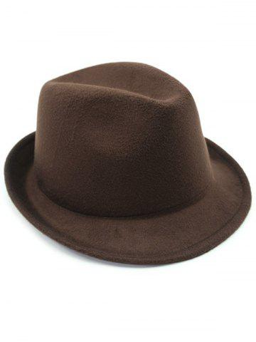 Fashion Flanging Faux Wool Fedora Hat - COFFEE  Mobile