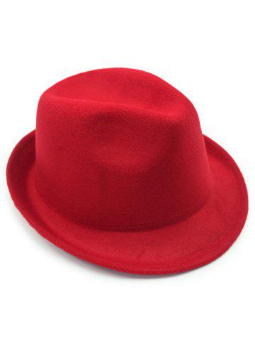 Cheap Flanging Faux Wool Fedora Hat - RED  Mobile