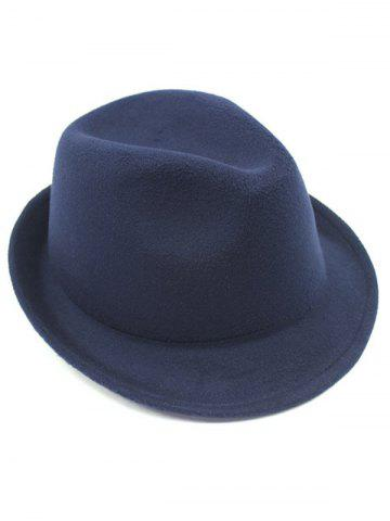 Chic Flanging Faux Wool Fedora Hat - CADETBLUE  Mobile