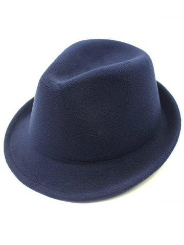 Sale Flanging Faux Wool Fedora Hat - CADETBLUE  Mobile