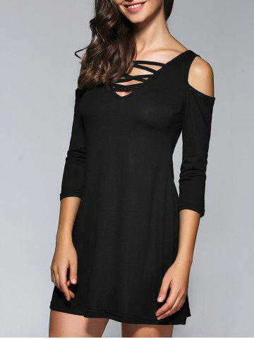 Fashion Criss Cross Cold Shoulder Fit and Flare Dress