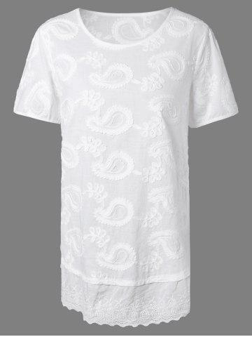 Hot Short Sleeves Embroidered Jacquard T-Shirt