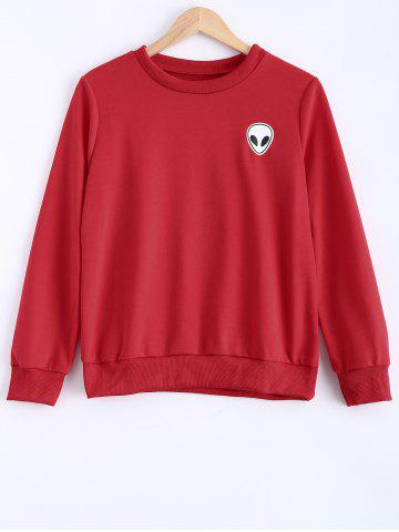 Skull Print Long Sleeve Sweatshirt - Red - S