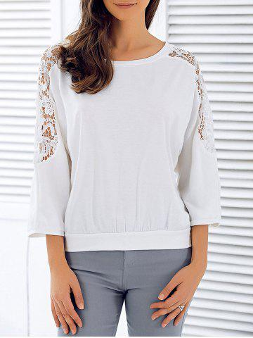 Online 3/4 Sleeve Openwork Lace Spliced T-Shirt