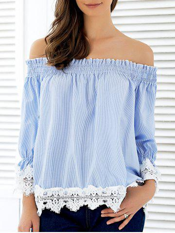 Cheap Off The Shoulder Striped Lace Panel Blouse