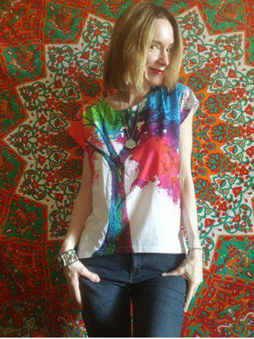 Latest Scoop Neck Colorful Tree Print High Low Short Sleeve T-Shirt