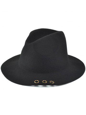 Buy Pure Color Floppy Metal Ring Charm Jazz Hat - BLACK  Mobile