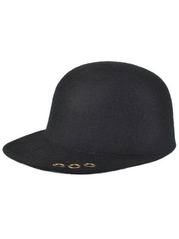 Fashion Hollow Metal Rings Pure Color Wool Fodora Hat