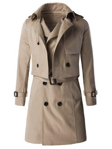 Chic Epaulet Design Buckle Sleeve Coat and Longline Belted Waistcoat Twinset