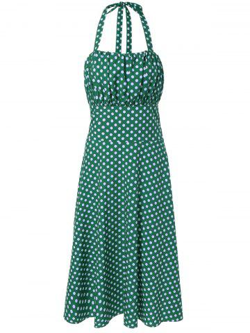 Trendy Vintage Halter Polka Dot Empire Waist Dress
