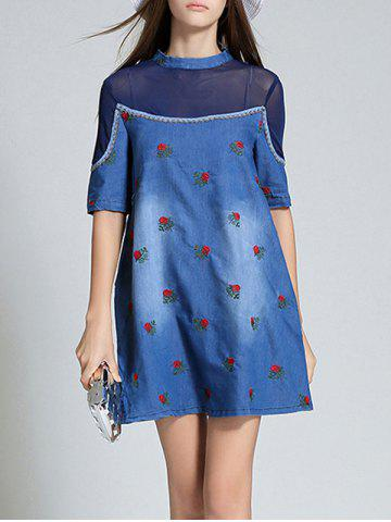 Online Mesh Spliced Denim Jacquard Dress