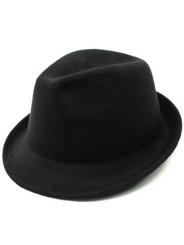 Cheap Flanging Faux Wool Fedora Hat BLACK