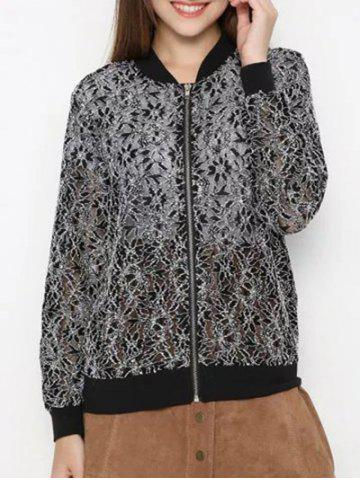 Chic Zippered Water Soluble Lace Bomber Jacket