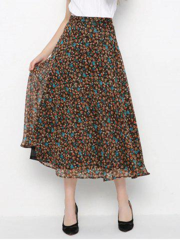 Chic High-Waisted Tiny Floral Print Skirt