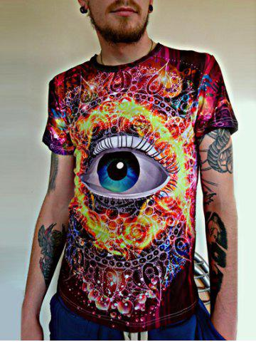 Fancy 3D Abstract Eye Printed Round Neck Short Sleeves T-Shirt