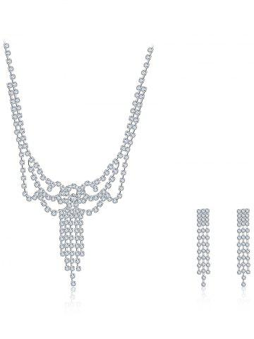 Outfits Rhinestoned Hollowed Bridal Jewelry Set - SILVER  Mobile