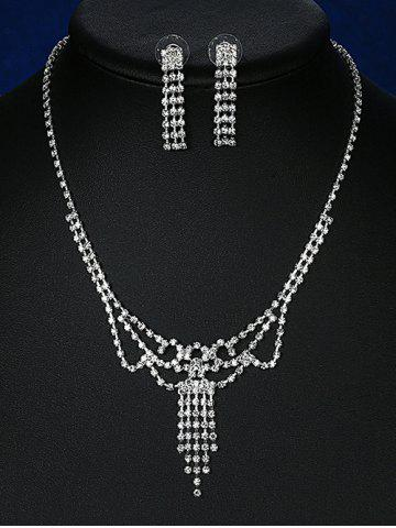 Fancy Rhinestoned Hollowed Bridal Jewelry Set - SILVER  Mobile