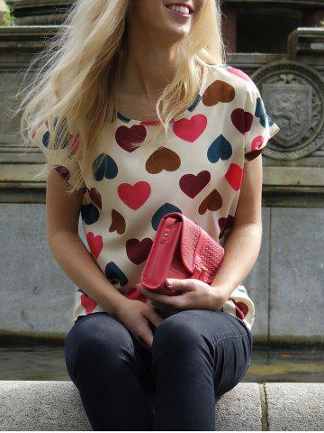 Outfit Scoop Collar Short Sleeve Heart Print Chiffon Blouse