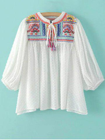 Hot Stand Neck Puff Sleeve Embroidered Sequins Blouse
