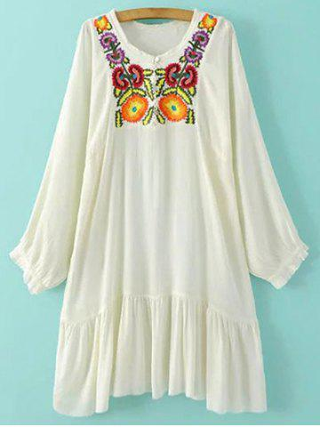 Chic Round Neck Long Sleeve Embroidered Dress
